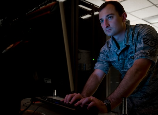 Staff Sgt. Kacper Sovinski, Geospatial Intelligence Analysis Squadron research and development project manager, upgrades data drives for the airborne sensor servers July 17, 2017, at the National Air and Space Intelligence Center. Sovinski was recently named one of the 12 Outstanding Airmen of the Year for numerous achievements, some of which include leading a four-member team to develop the Air Force's first laser sensor data analysis training program. He also executed a two-week study and calibration test to maximize the capabilities of a $3 million airborne asset. (U.S. Air Force photo/Senior Airman Jonathan Stefanko)