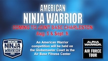 """An American Warrior competition will be held on the Globemaster Court in the Air Base Fitness Center Aug. 5 and Sept. 9. The American Warrior competition takes place on a functional fitness-based obstacle course similar to the courses seen on the NBC television show, """"American Ninja Warrior."""" The course will be installed on the Globemaster Court at the air base fitness center. (U.S. Air Force Graphic / Michael Dukes)"""