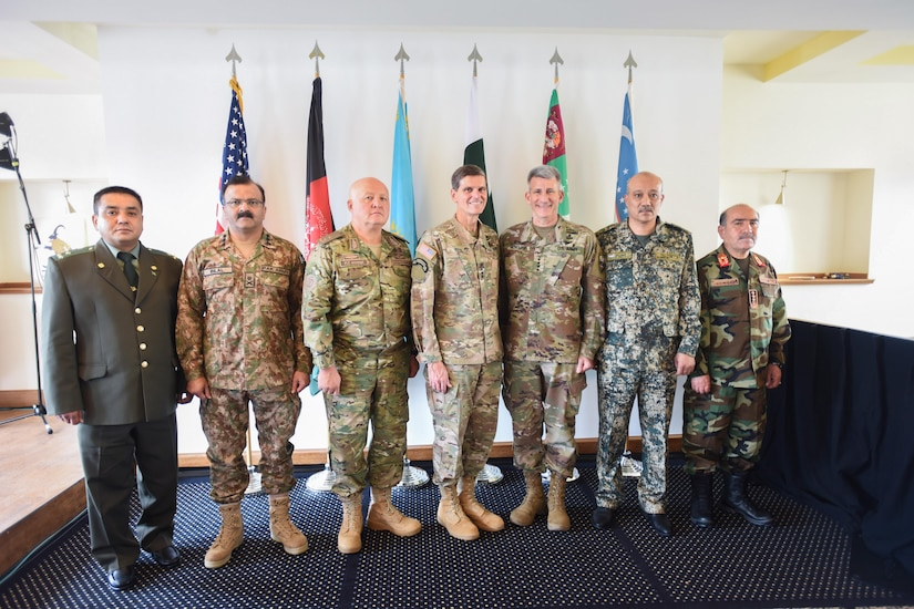 U.S. Army Gen Joseph L. Votel, commander U.S. Central Command, poses with Central and South Asia (CASA) nations' chiefs of defense. (Photo by U.S. Army Master Sgt. Crista Mary Mack)