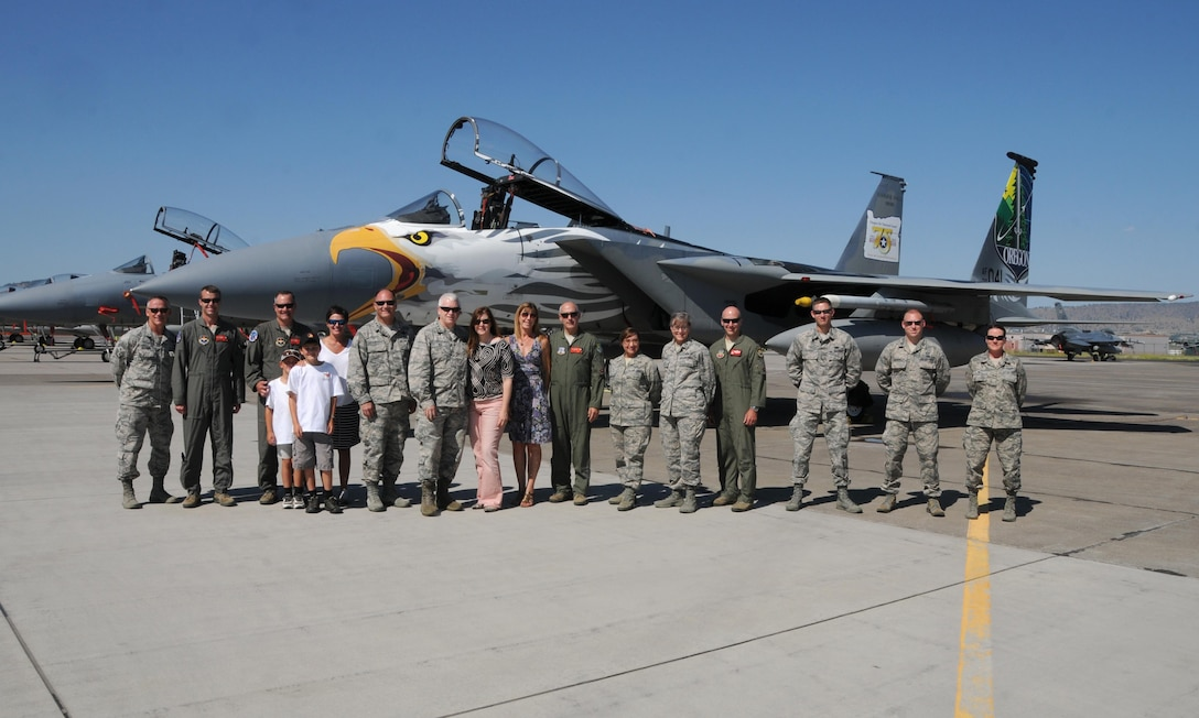 Oregon Air National Guard leadership and the Director of the Air National Guard, Lieutenant General Scott Rice, pose for a group photo in front of a U.S. Air Force F-15 Eagle from the 173rd Fighter Wing during the Sentry Eagle Open House held July 22, 2017 at Kingsley Field in Klamath Falls, Oregon.  Sentry Eagle is a four day large force exercise that brings together different aircraft and units from around the country for dissimilar air combat training.  Additionally, the wing opens its gates to the public for a day during their biennial open house.  (U.S. Air National Guard photo by Master Sgt. Jennifer Shirar)