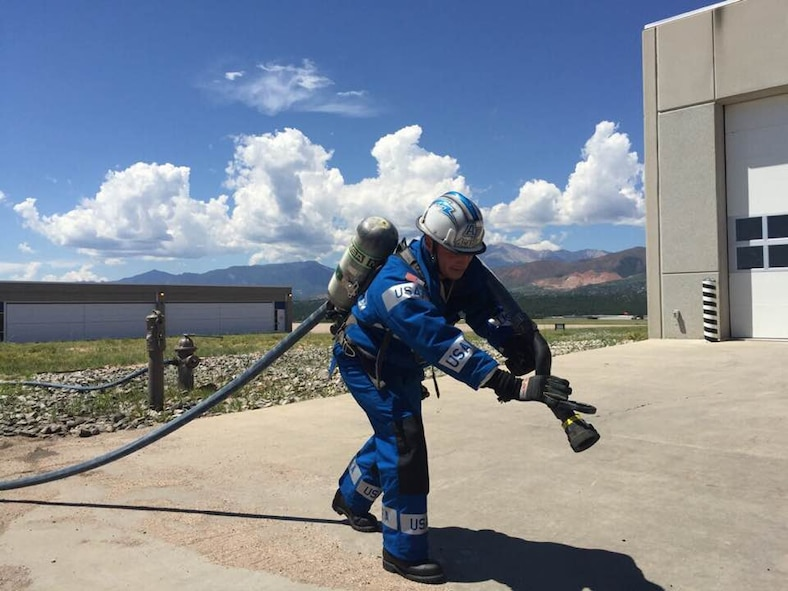 This 10th Civil Engineering Squadron firefighter and others at the U.S. Air Force Academy are scheduled to complete in the regional Firefighter Combat Challenge, July 28-29 in Longmont, Colorado, to qualify for the World Challenge championship in October. (10th CES Fire Department)