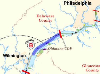 Philadelphia District Civil Works - Delaware river on us map
