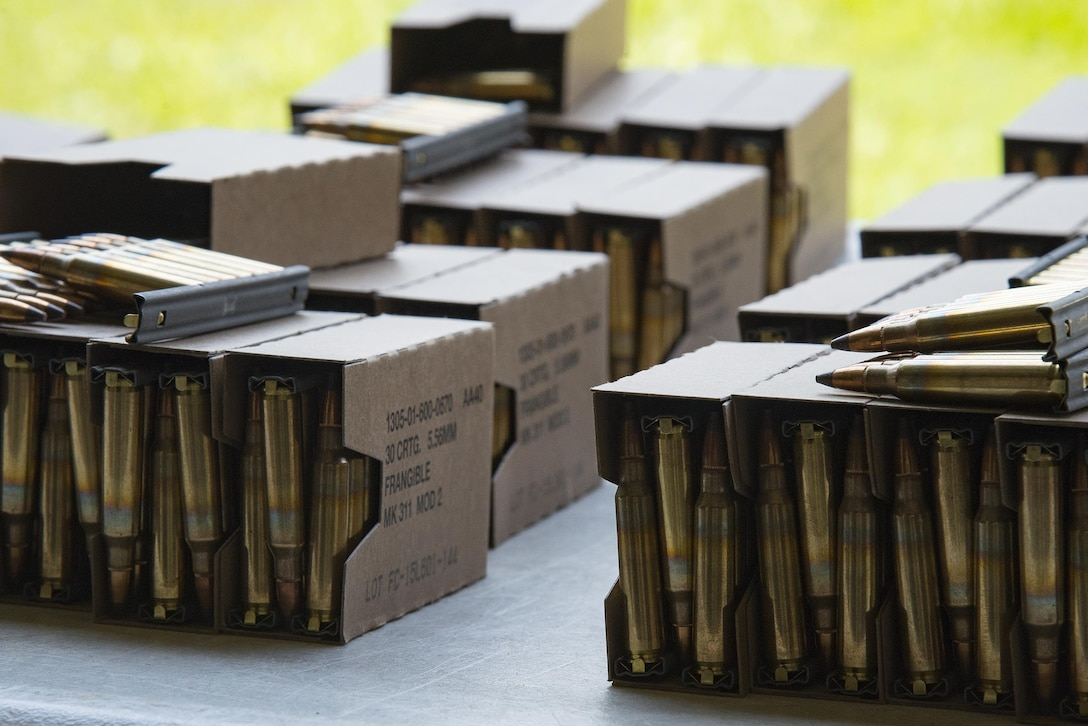 Ammunition rests on a table at the Combat Arms Training and Maintenance range, July 25, 2017, at Moody Air Force Base, Ga. During CATM, Airmen must demonstrate quality safety standards while handling and shooting their weapons in order to qualify to deploy. (U.S. Air Force photo by Airman 1st Class Erick Requadt)