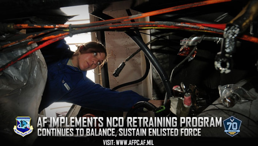 The Noncommissioned Officer Retraining Program allows second-term and career Airmen to retrain into undermanned career field in order to balance and sustain the enlisted force as the Air Force continues to grow. (U.S. Air Force graphic by Kat Bailey)