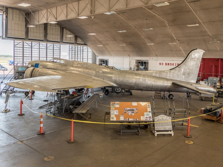 DAYTON, Ohio -- View of the B-17F Memphis Belle™ on July 26, 2017 in the museum's restoration building. This aircraft will be placed on public display here at the museum on May 17, 2018. (Photo courtesy Kevin Lush)