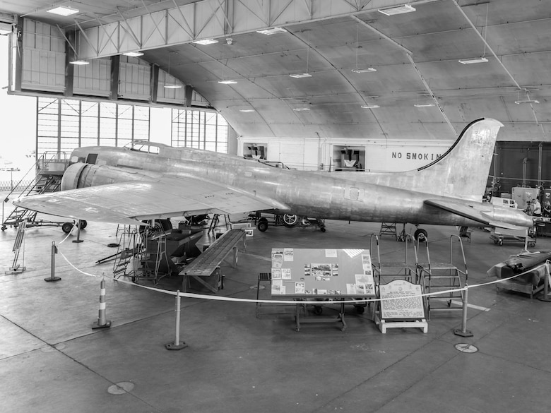 DAYTON, Ohio -- Black and white view of the B-17F Memphis Belle™ on July 26, 2017 in the museum's restoration building. This aircraft will be placed on public display here at the museum on May 17, 2018. (Photo courtesy Kevin Lush)