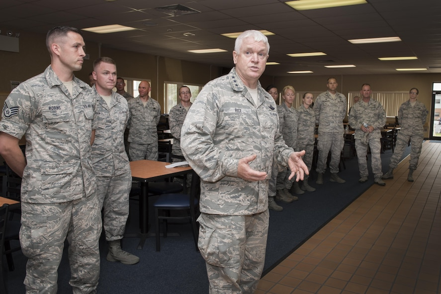 Lt. Gen. L. Scott Rice, Director of the Air National Guard addresses Airmen at the 167th Airlift Wing during a tour of the Martinsburg W.Va. air base, July 26. Rice and Chief Master Sgt. Ronald Anderson, ANG Command Chief, along with West Virginia National Guard Adjutant General, Maj. Gen. James A. Hoyer, Assistant Adjutant General for Air, Brig. Gen. Paige Hunter and and State Command Chief, Chief Master Sgt. James Dixon met with Airmen around the wing during their visit. Before visiting the 167AW, Rice and Anderson visited the National Boy Scouts Jamboree in Glen Jean, W.Va., and the 130th Airlift Wing in Charleston, W.Va. (U.S. Air National Guard photo by Senior Master Sgt. Emily Beightol-Deyerle)