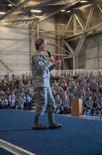 Lt. Gen. Maryanne Miller, Air Force Reserve Command commander and Chief of the Air Force Reserve, speaks to reservists July 15, 2017, at Beale Air Force Base, California. Miller held an all-ranks all-call to speak with Reserve Citizen Airmen and offer a question and answer period. (U.S. Air Force photo by Staff Sgt. Brenda Davis)