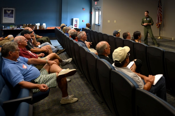 U.S. Air Force Capt. Kyle Bruton, 20th Fighter Wing flight safety chief, briefs local aviators on mid-air collision avoidance at Shaw Air Force Base, S.C., July 28, 2017. Civilian pilots received the opportunity to learn about the 20th FW's flying operations and aircraft. (U.S. Air Force photo by Senior Airman Christopher Maldonado)