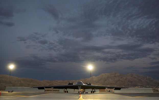 Aircraft maintainers assigned to the 509th Aircraft Maintenance Squadron, Whiteman Air Force Base, MO., perform pre-flight checks on a B-2 Spirit bomber from the 393rd Bomb Squadron prior to a Red Flag 17-3 training sortie July 20, 2017 at Nellis AFB, Nev. Red Flag exercises commonly task aircraft to fly multiple sorties per day, which requires maintenance to be performed throughout the night. (U.S. Air Force photo by Senior Airman Kevin Tanenbaum)