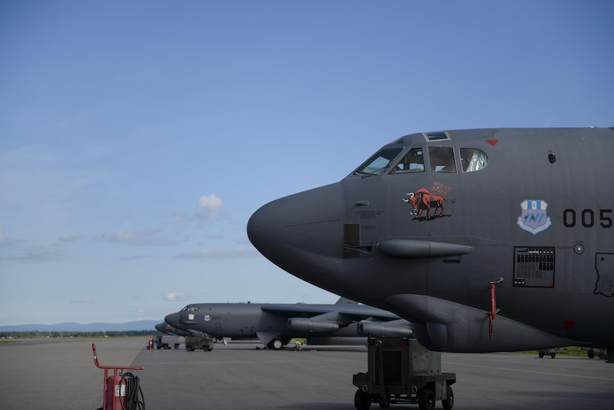 A U.S. Air Force B-52 Stratofortress assigned to the 96th Bomber Squadron, Barksdale Air Force Base (AFB), La., waits on the flight line during RED FLAG-Alaska (RF-A) 17-3, July 28, 2017, at Eielson AFB, Alaska. RF-A provides an optimal training environment in the Indo-Asia-Pacific Region and focuses on improving ground, space, and cyberspace combat readiness and interoperability for U.S. and international forces. (U.S. Air Force photo by Airman 1st Class Isaac Johnson)