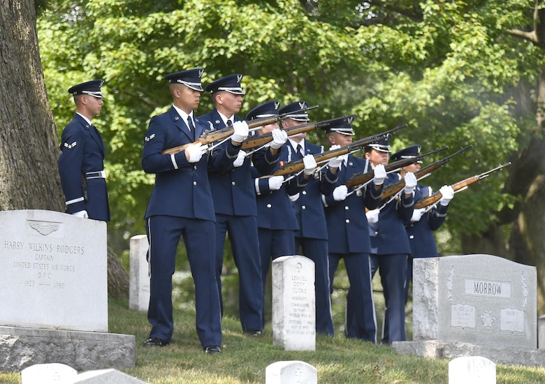 Service members render full honors for retired Col. Freeman Bruce Olmstead's funeral at Arlington National Cemetery, Arlington, Va. July 27, 2017. Olmstead, an Air Force veteran and prisoner of war survivor, passed away Oct. 14, 2017.  (US Air Force Photo/Andy Morataya)