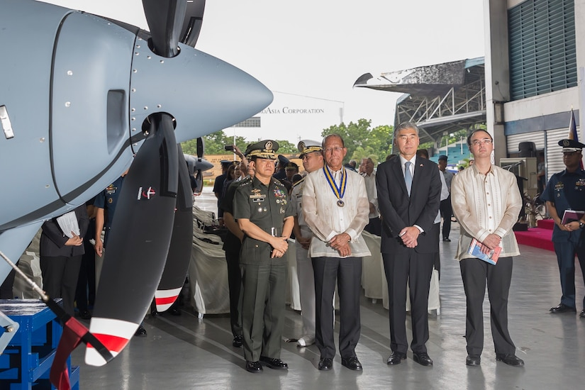 Chief of Staff of the Armed Forces of the Philippines General Eduardo Año, Secretary of National Defense Delfin Lorenzana, U.S. Ambassador to the Philippines Sung Y. Kim, and Secretary of Foreign Affairs Alan Peter Cayetano at the turnover and blessing ceremony for two new Cessna 208B aircraft from the U.S. to the Philippine Air Force at Villamor Air Base in Pasay City.