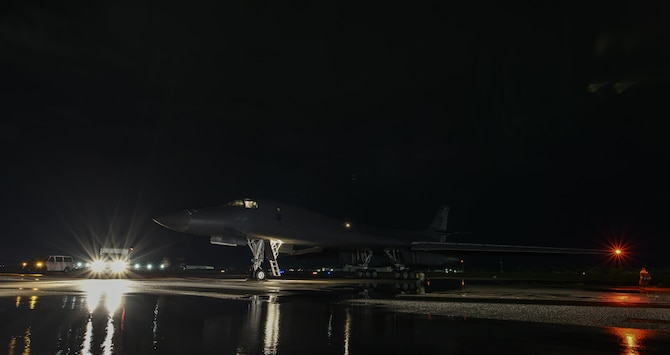 A U.S. Air Force B-1B Lancer assigned to the 9th Expeditionary Bomb Squadron, deployed from Dyess Air Force Base, Texas, prepares to take off for a 10-hour mission from Andersen Air Force Base, Guam, into Japanese airspace and over the Korean Peninsula, July 30, 2017. The B-1s first made contact with Japan Air Self-Defense Force F-2 fighter jets in Japanese airspace, then proceeded over the Korean Peninsula and were joined by South Korean F-15 fighter jets. The aircrews practiced intercept and formation training during the mission, enabling them to improve their combined capabilities and tactical skills, while also strengthening the long standing military-to-military relationships in the Indo-Asia-Pacific. (U.S. Air Force photo/Tech. Sgt. Richard P. Ebensberger)