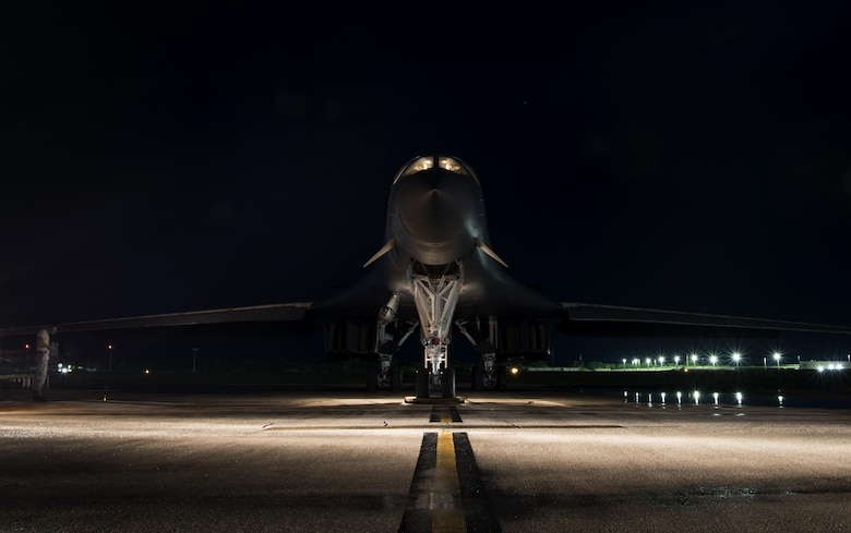 A U.S. Air Force B-1B Lancer prepares to take off for a 10-hour mission from Andersen Air Force Base, Guam, into Japanese airspace and over the Korean Peninsula, July 30, 2017. The B-1s first made contact with Japan Air Self-Defense Force F-2 fighter jets in Japanese airspace, then proceeded over the Korean Peninsula and were joined by South Korean F-15 fighter jets. This mission is part of the continuing demonstration of ironclad U.S. commitment to our allies. (U.S. Air Force photo/Tech. Sgt. Richard P. Ebensberger)