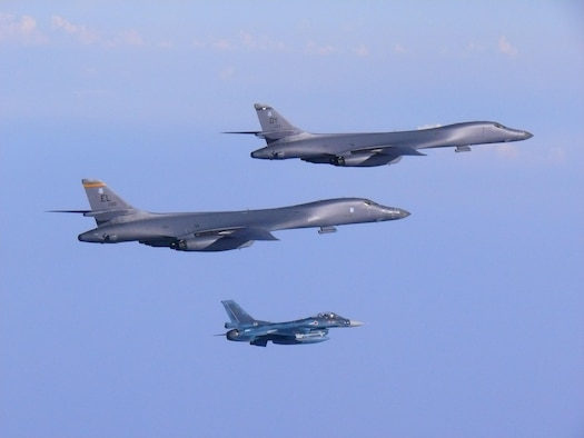 In a demonstration of ironclad U.S. commitment to our allies, two U.S. Air Force B-1B Lancers assigned to the 9th Expeditionary Bomb Squadron, deployed from Dyess Air Force Base, Texas, fly a 10-hour mission from Andersen Air Force Base, Guam, into Japanese airspace and over the Korean Peninsula, July 30, 2017. The B-1s first made contact with Japan Air Self-Defense Force F-2 fighter jets in Japanese airspace, then proceeded over the Korean Peninsula and were joined by South Korean F-15 fighter jets. This mission is in direct response to North Korea's escalatory launch of intercontinental ballistic missiles on July 3 and 28.  (Courtesy photo)