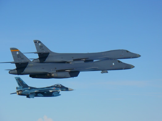A U.S. Air Force B-1B Lancer assigned to the 9th Expeditionary Bomb Squadron, deployed from Dyess Air Force Base (AFB), Texas, and a B-1B assigned to the 28th Bomb Wing, deployed from Ellsworth AFB, South Dakota, fly a 10-hour mission from Andersen Air Force Base, Guam, into Japanese airspace and over the Korean Peninsula, July 30, 2017. The B-1s first made contact with Japan Air Self-Defense Force F-2 fighter jets in Japanese airspace, then proceeded over the Korean Peninsula and were joined by South Korean F-15 fighter jets.The aircrews practiced intercept and formation training during the mission, enabling them to improve their combined capabilities and tactical skills, while also strengthening the long standing military-to-military relationships in the Indo-Asia-Pacific.(Courtesy photo)