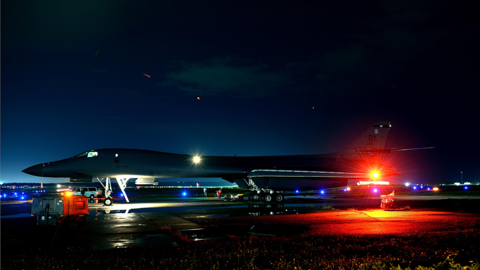 A U.S. Air Force B-1B Lancer assigned to the 9th Expeditionary Bomb Squadron, deployed from Dyess Air Force Base, Texas, prepares for a 10-hour mission from Andersen Air Force Base, Guam, into Japanese airspace and over the Korean Peninsula, July 30, 2017. The B-1s flew with Japan Air Self-Defense Force F-2 fighter jets in Japanese airspace, then proceeded over the Korean Peninsula and were joined by South Korean F-15 fighter jets. The aircrews practiced intercept and formation training during the mission, enabling them to improve their combined capabilities and tactical skills, while also strengthening the long standing military-to-military relationships in the Indo-Asia-Pacific. (U.S. Air Force photo/Airman 1st Class Gerald Willis)