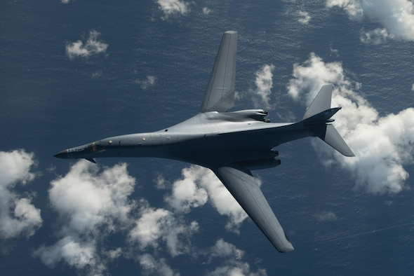 A U.S. Air Force B-1B Lancer participates in a 10-hour mission from Andersen Air Force Base, Guam, into Japanese airspace and over the Korean Peninsula, July 30, 2017. Two B-1s made contact with Japan Air Self-Defense Force F-2 fighter jets in Japanese airspace, then proceeded over the Korean Peninsula and were joined by South Korean F-15 fighter jets. This mission is part of the continuing demonstration of ironclad U.S. commitment to our allies. (U.S. Air Force photo/Airman 1st Class Jacob Skovo)