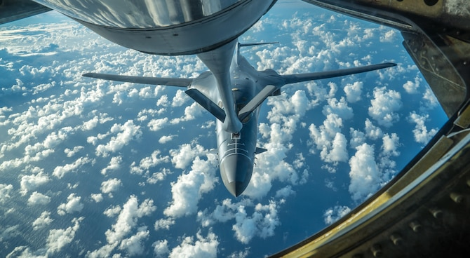 A U.S. Air Force B-1B Lancer receives fuel from a KC-135 Stratotanker during a 10-hour mission from Andersen Air Force Base, Guam, into Japanese airspace and over the Korean Peninsula, July 30, 2017. After refueling, the B-1s made contact with Japan Air Self-Defense Force F-2 fighter jets in Japanese airspace, then proceeded over the Korean Peninsula and were joined by South Korean F-15 fighter jets. This mission is part of the continuing demonstration of ironclad U.S. commitment to our allies.(U.S. Air Force photo/Staff Sgt. Joshua Smoot)