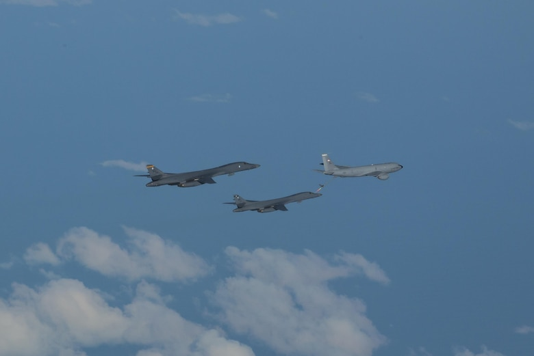 In a demonstration of ironclad U.S. commitment to our allies, two U.S. Air Force B-1B Lancers assigned to the 9th Expeditionary Bomb Squadron, deployed from Dyess Air Force Base, Texas, fly a 10-hour mission from Andersen Air Force Base, Guam, into Japanese airspace and over the Korean Peninsula, July 30, 2017. The B-1s first made contact with Japan Air Self-Defense Force F-2 fighter jets in Japanese airspace, then proceeded over the Korean Peninsula and were joined by South Korean F-15 fighter jets. This mission is in direct response to North Korea's escalatory launch of intercontinental ballistic missiles on July 3 and 28. (U.S. Air Force photo/Airman 1st Class Christopher Quail)