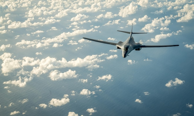 A U.S. Air Force B-1B Lancer participates in a 10-hour mission from Andersen Air Force Base, Guam, into Japanese airspace and over the Korean Peninsula, July 30, 2017. The B-1s first made contact with Japan Air Self-Defense Force F-2 fighter jets in Japanese airspace, then proceeded over the Korean Peninsula and were joined by South Korean F-15 fighter jets. This mission is part of the continuing demonstration of ironclad U.S. commitment to our allies. (U.S. Air Force photo/Staff Sgt. Joshua Smoot)
