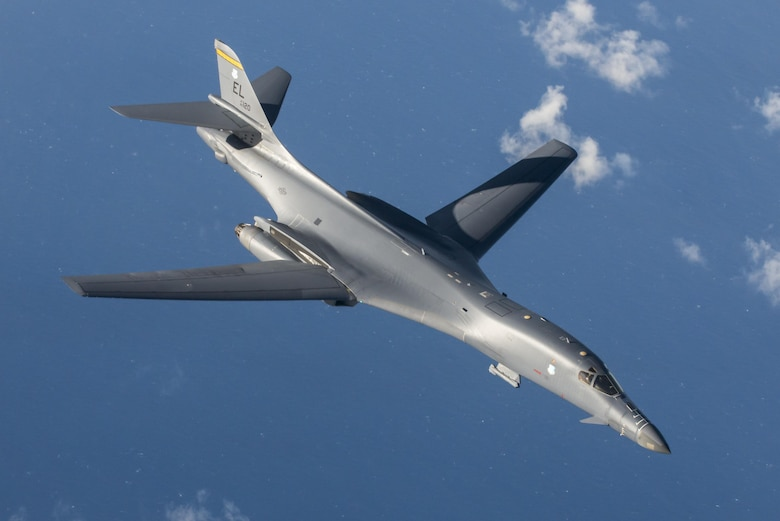 A U.S. Air Force B-1B Lancer assigned to the 9th Expeditionary Bomb Squadron, deployed from Dyess Air Force Base, Texas, during a 10-hour mission from Andersen Air Force Base, Guam, into Japanese airspace and over the Korean Peninsula, July 30, 2017. U.S. Pacific Command maintains flexible bomber and fighter capabilities in the Indo-Asia-Pacific theater, retaining the ability to quickly respond to any regional threat in order to defend the U.S. homeland and in support of our allies. (U.S. Air Force photo/Airman 1st Class Christopher Quail)