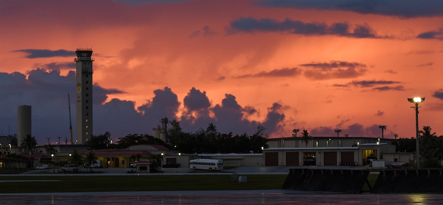 The Andersen control tower under goes renovations June 20, 2017, at Andersen Air Force Base, Guam. Air traffic control Airmen assigned to the 36th Operation Support Squadron began work in the new tower June 30 after spending almost three months working in the mobile tower unit on the flightline. (U.S. Air Force Photo by Tech Sgt. Richard P. Ebensberger)