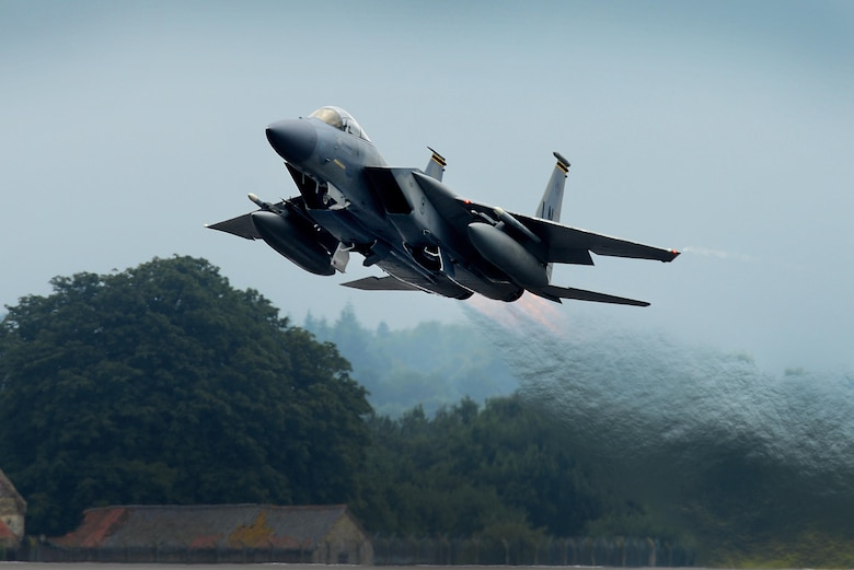 An F-15D Eagle assigned to the 493rd Fighter Squadron at Royal Air Force Lakenheath, England, launches for a sortie in support of a flying training exercise at Lakenheath with the 480th Fighter Squadron from Spangdahlem Air Base, Germany, July 25. The bilateral training event is designed to enhance interoperability, maintain joint readiness and reassure our regional Allies and partners of the U.S. Air Force's commitment to a safe and secure Europe. (U.S. Air Force photo/ Tech. Sgt. Matthew Plew)