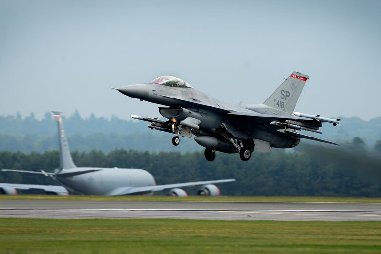 An F-16C Fighting Falcon assigned to the 480th Fighter Squadron, Spangdahlem Air Base, Germany, launches for a sortie in support of a flying training exercise at Royal Air Force Lakenheath, England, July 25. Eighteen F-16 Fighting Falcon aircraft and more than 260 Airmen from the 52nd Fighter Wing, Spangdahlem Air Base, Germany, completed a three-week flying training deployment July 31. (U.S. Air Force photo/ Tech. Sgt. Matthew Plew)