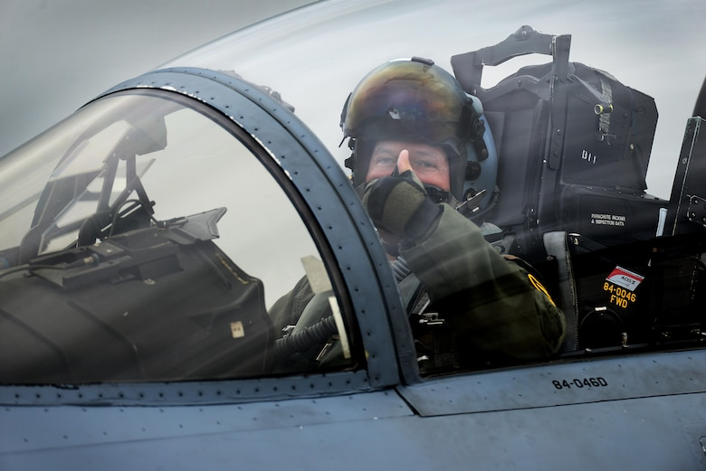 A pilot assigned to the 493rd Fighter Squadron gives the thumbs up after completion of a sortie with the 480th Fighter Squadron in support of a flying training exercise at Royal Air Force Lakenheath, England, July 25. This FTD not only met readiness requirements, but also provided an avenue to expand strategic and operational ties. (U.S. Air Force photo/ Tech. Sgt. Matthew Plew)