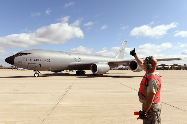 170714-Z-EZ686-043 - Technical Sgt. David Thomas, Crew Chief of the 127th Air Refueling Group, marshals out a KC-135 Stratotanker flown by the 171st Air Refueling Squadron from Selfridge Air National Guard Base, Mich., at Selfridge Air National Guard Base on July 14, 2017.  Primarily used as an air-to-air refueling platform, the KC-135 at Selfridge is operated and maintained by Airmen from the Michigan Air National Guard's 127th Air Refueling Group, 171st Air Refueling Squadron, 191st Maintenance Squadron and related organizations. (U.S. Air National Guard photo by MSgt. David Kujawa/Released)