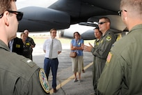 """U.S. Strategic Command (USSTRATCOM) """"Experience Day"""" participants learn about a B-52 Stratofortress at Offutt Air Force Base, Neb., July 28, 2017.   International, military, governmental, academic and industry experts who attended the 2017 USSTRATCOM Deterrence Symposium were invited to the half-day event. More than 50 individuals were given a USSTRATCOM mission brief, toured the Global Operations Center and visited an OC-135 Observation Aircraft, E-6B Mercury and a Terminal High Altitude Area Defense launcher."""