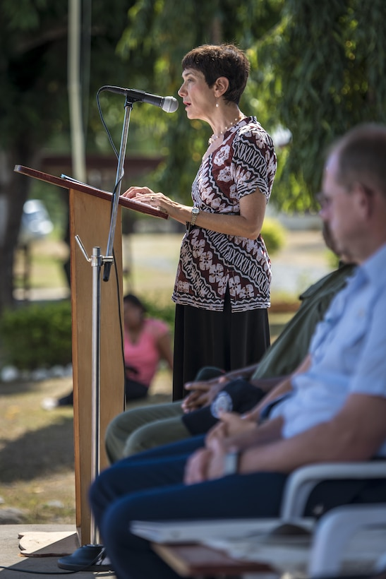 U.S. Ambassador Judith Cefkin addresses a crowd who gathered for the closing ceremonies for Pacific Angel (PACANGEL) 17-3 at the Tagitagi Sangam School and Kindergarten in Tavua, Fiji, July 24, 2017. Cefkin thanked the multilateral joint Total Force Enterprise team for the hard work and dedication to the people of Fiji and peace and prosperity across the Indo-Asia-Pacific region. PACANGEL 17-3 built partnerships between the U.S., Fiji, and five regional nations including Australia, Vanuatu, Indonesia, the Philippines and France by conducting multilateral humanitarian assistance and civil military operations, promoting regional military-civilian-nongovernmental organization cooperation and interoperability. (U.S. Air Force photo/Tech. Sgt. Benjamin W. Stratton)