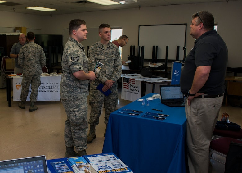 The Education Center hosted an education fair at Minot Air Force Base, N.D., July 26, 2017. During the fair, 10 school representatives were available to speak to Team Minot personnel about pursuing higher education. (U.S. Air Force photo by Airman 1st Class Alyssa M. Akers)