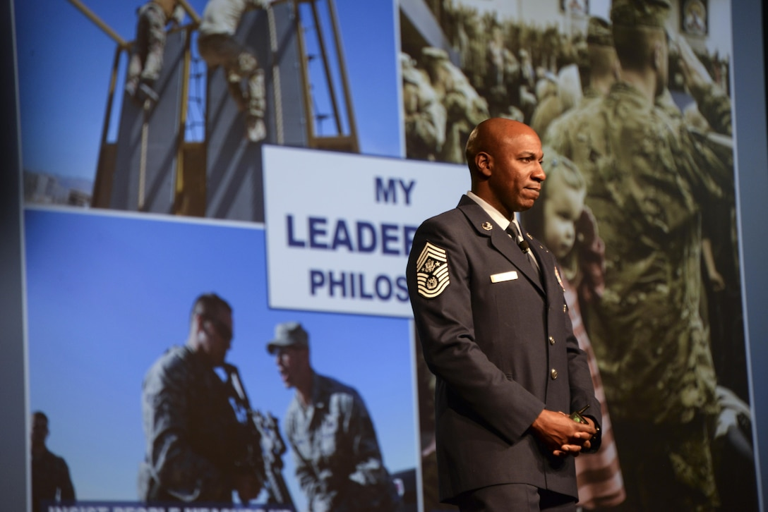 Chief Master Sergeant of the Air Force Kaleth O. Wright speaks to Airmen at a professional development forum July 24 during the Air Force Sergeants Association International Convention held in Reno, Nevada. The Professional Airman's Conference provided the opportunity for Airmen to learn from past and present enlisted leadership. (U.S. Air Force photo by Senior Airman Amber Carter)