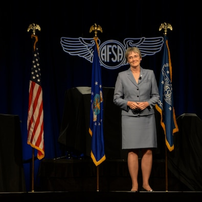 Secretary of the Air Force Heather Wilson speaks at a professional development forum July 25 at the Air Force Sergeants Association International Convention in Reno, Nevada. Wilson spoke about her leadership priorities and the importance of education as well as the development of Airmen. (U.S. Air Force photos by Senior Airman Amber Carter)