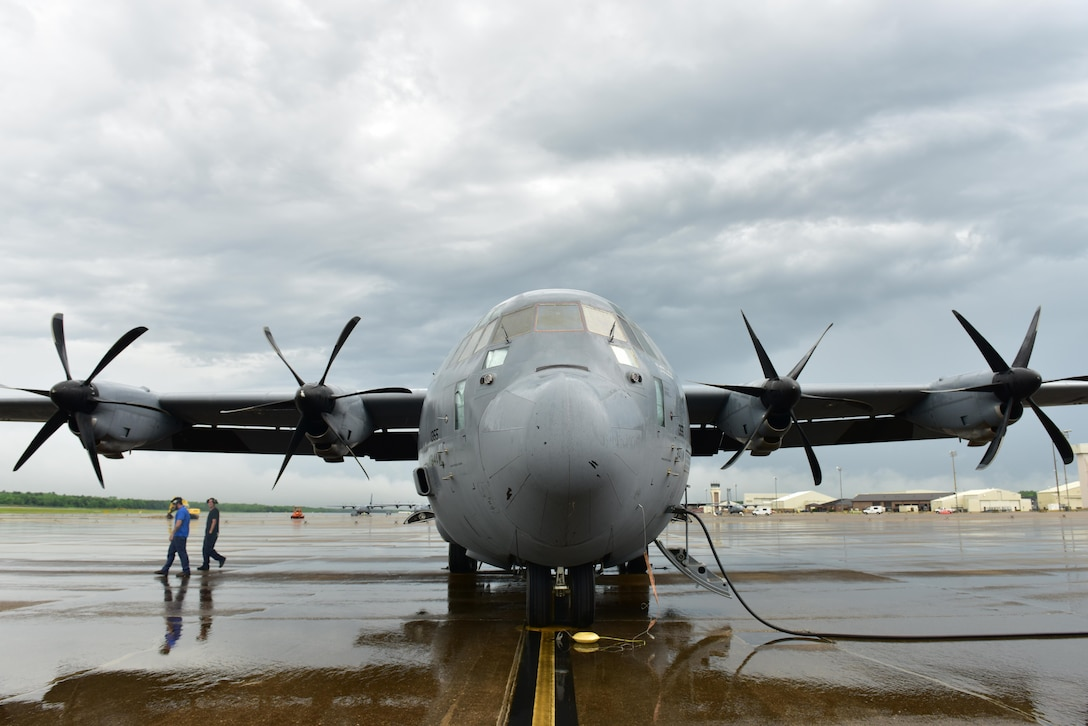 Members of DynCorp International prepare a C-130J for a flight April 17, 2017, at Little Rock Air Force Base, Ark. The 314th Maintenance Group transitioned from enlisted maintainers to DynCorp International contractors to sustain the C-130 training mission. (U.S. Air Force photo by Senior Airman Mercedes Taylor)