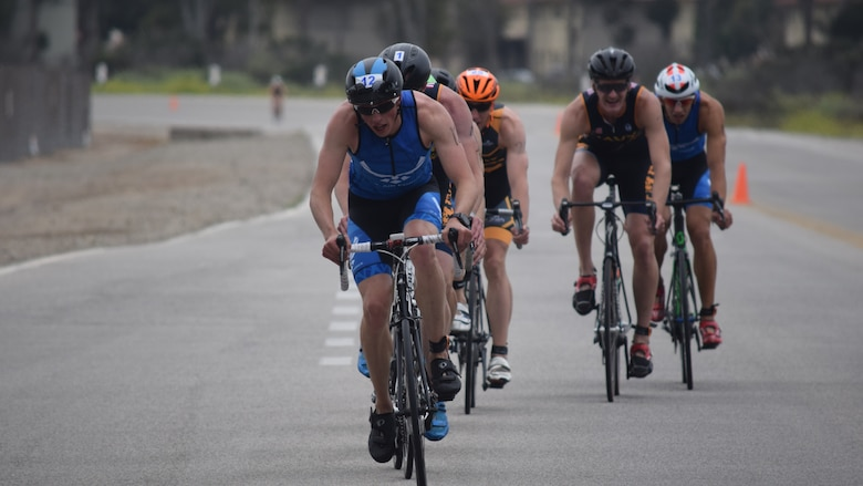 Capt. Joel Bischoff, a cadre member at Air Force ROTC Detachment 027 at the University of Northern Arizona, sets the pace at the 2017 Armed Forces Triathlon, held June 7-11 at Naval Base Ventura County, California. The captain's second place overall finish at the competition earned him a place on the Air Force team competing at the World Military Triathlon Championship in Warendorf, Germany, Aug. 5. (Courtesy Photo)