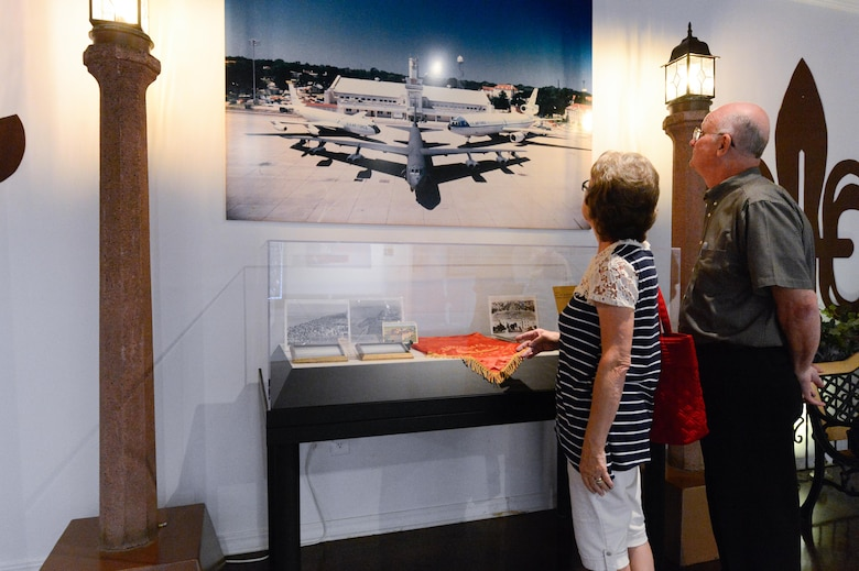 Larry and Ann Kilgore look at an exhibit pertaining to Barksdale Air Force Base, La., history at the Barksdale Global Power Museum, July 12, 2017. The museum offered a variety of Barksdale and Air Force displays pertaining to 8th Air Force achievements.