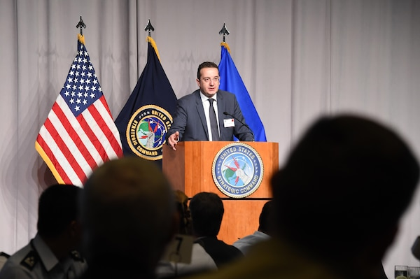 David Bakradze, Georgia's ambassador to the United States, provides remarks during U.S. Strategic Command's annual Deterrence Symposium at the CenturyLink Center, Omaha, Neb., July 26, 2017. During the two-day symposium, industry, military, governmental, international and academic experts discussed and promoted increased collaboration to address 21st century strategic deterrence.  One of nine Department of Defense unified combatant commands, USSTRATCOM has global strategic missions assigned through the Unified Command Plan that include strategic deterrence, space operations, cyberspace operations, joint electronic warfare, global strike, missile defense, intelligence, and analysis and targeting.