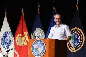 U.S. Air Force Gen. John. E. Hyten, commander of U.S. Strategic Command (USSTRATCOM), delivers closing remarks during USSTRATCOM's annual Deterrence Symposium at the CenturyLink Center, Omaha, Neb., July 27, 2017. During the two-day symposium, industry, military, governmental, international and academic experts discussed and promoted increased collaboration to address 21st century strategic deterrence.  One of nine Department of Defense unified combatant commands, USSTRATCOM has global strategic missions assigned through the Unified Command Plan that include strategic deterrence, space operations, cyberspace operations, joint electronic warfare, global strike, missile defense, intelligence, and analysis and targeting.