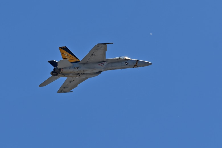 An F-18 Super Hornet from Naval Station Lemoore, California, performs for the Inland Northwest community during the 2017 Skyfest Air Show and Open House July 30, 2017, at Fairchild Air Force Base, Washington. During the event, multiple static displays of military aircraft along with more than 10 aerial performances, including vintage military aircraft and civilian acts, were on display for the crowds. (U.S. Air Force photo/Senior Airman Mackenzie Richardson)
