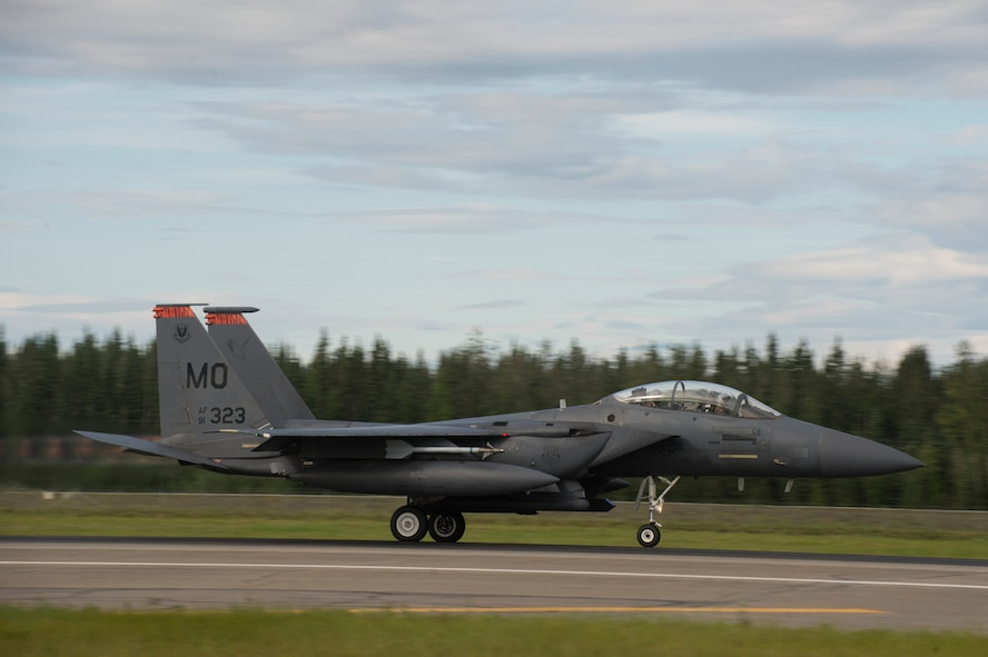 A U.S. Air Force F-15 Strike Eagle fighter aircraft assigned to the 391st Fighter Squadron, Mountain Home Air Force Base (AFB), Idaho, takes off during FLAG-Alaska (RF-A) 17-3, July 31, 2017, at Eielson AFB, Alaska. RF-A provides an optimal training environment in the Indo-Asia Pacific Region and focuses on improving ground, space, and cyberspace combat readiness and interoperability for U.S. and international forces. (U.S. Air Force photo by Airman 1st Class Isaac Johnson)