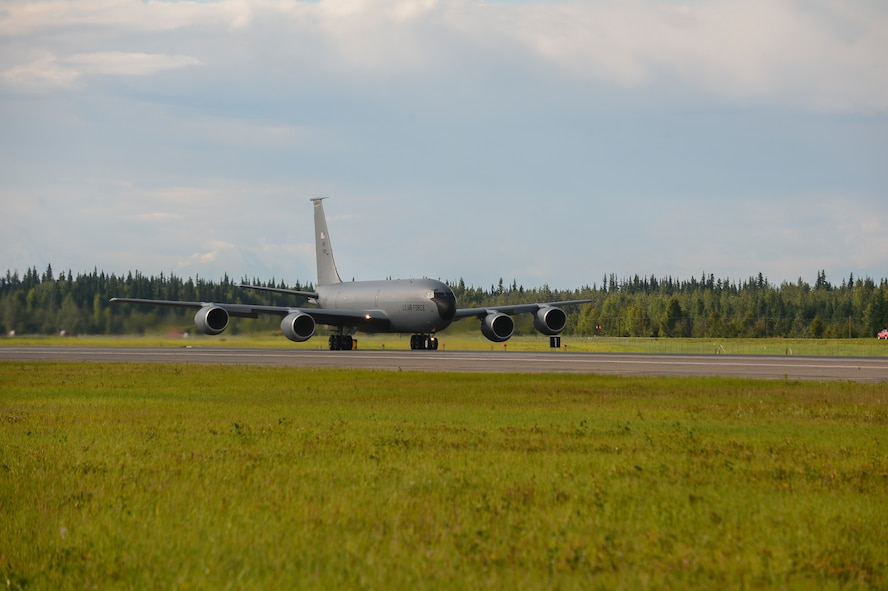 A U.S. Air Force KC-135 Stratotanker refueling aircraft, assigned to the 168th Wing, takes off during FLAG-Alaska (RF-A) 17-3, at Eielson Air Force Base, Alaska. RF-A provides an optimal training environment in the Indo-Asia-Pacific Region and focuses on improving ground, space, and cyberspace combat readiness and interoperability for U.S. and international forces. (U.S. Air Force photo by Airman 1st Class Isaac Johnson)