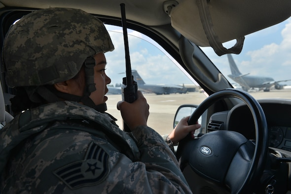 U.S. Air Force Staff Sgt. Trisha Dodds, 39th Operations Support Squadron airfield management operations supervisor, speaks into a land mobile radio during an airfield indirect fire (IDF) exercise, May 27, 2017, at Incirlik Air Base, Turkey. Airfield exercises are conducted to test the capabilities of Airmen responding to such scenarios. (U.S. Air Force photo by Senior Airman John Nieves Camacho)