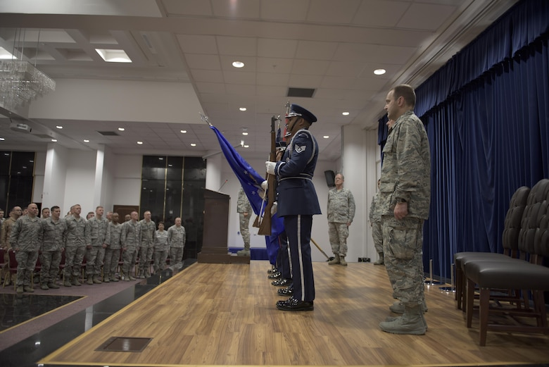 Members of the Incirlik Air Base Honor Guard present the Turkish and American flags during the 39th Medical Group change of command ceremony May 27, 2017, at Incirlik Air Base, Turkey. During the ceremony, Col. Thomas A. Bacon relinquished command to Col. Vito Smyth. (U.S. Air Force photo by Airman 1st Class Kristan Campbell)