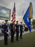 The U.S. Air Force Honor Guard presents the colors during the U.S. Air Force Band's Celtic Aire ensemble Memorial Day concert at the National Harbor in Fort Washington, Md., May 27, 2017. Memorial Day serves as an opportunity to pause and remember the sacrifices of more than one million Soldiers, Sailors, Airmen, Marines and Coast Guardsmen who gave their lives to secure America's freedoms. (U.S. Air Force photo by Airman 1st Class Valentina Lopez)