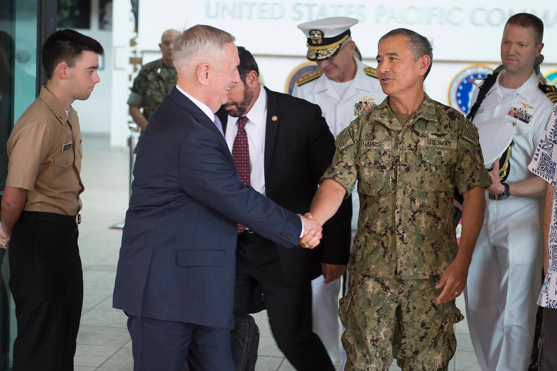 Defense Secretary Jim Mattis and Navy Adm. Harry B. Harris Jr