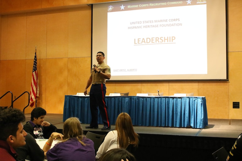 Staff Sergeant Alberto Ortiz, a recruiter with Recruiting Sub-Station Houma, gives a presentation on leadership during the Latinos on the Fast Track Program's Body, Mind and Spirit Seminar held at Tulane University in New Orleans on April 24, 2017. The Marine Corps presented the seminar as part of the Hispanic Heritage Foundation who identifies, inspires, prepares, and connects Latinos Leaders in the community, classroom and workforce. (U.S. Marine Corps photo by Staff Sgt. Rubin J. Tan/Released)